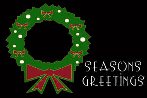 Free Clipart Picture of Seasons Greeting with a Wreath