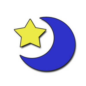 Free Clipart Picture of the Moon and a Star