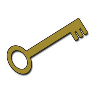 Free Clipart Picture of a Gold Skeleton Key