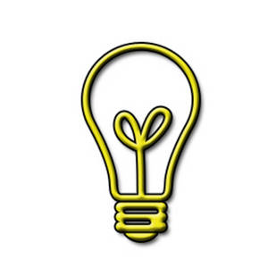 Free Clipart Picture of a Yellow, See Through Light bulb