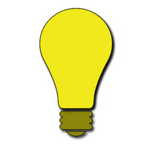 Free Clipart Picture of a Bright Yellow Light bulb