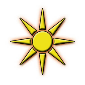 Free Clipart Picture of a Yellow Sun with an Orange Glow