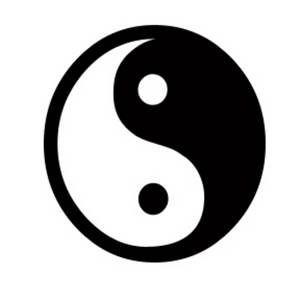 Free Clipart Picture of a Black and White Ying / Yang Symbol