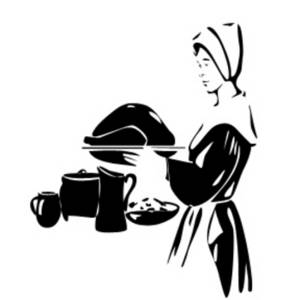Free Clipart Picture of a Woman Pilgrim Holding a Roasted Turkey