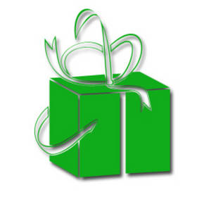 Free Christmas Clipart Graphic Of a Present Wrapped in Green Paper