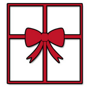 Free Christmas Clipart Of a Window With a Big, Red Bow