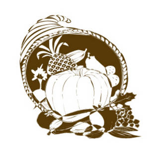 Free Clipart Picture of Cornucopia Spilling Out Food