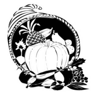 Free Clipart Picture of a Horn of Plenty Full of Harvest Foods