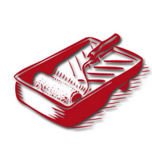 Free Clipart Picture of a Paint Tray and Roller