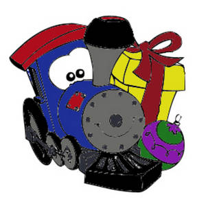 Free Clipart Picture of a Train with a Face