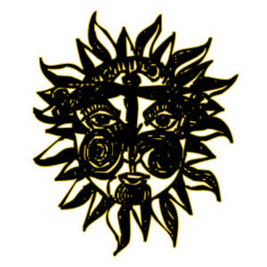 Free Clipart Picture of a Tribal Sun Mask