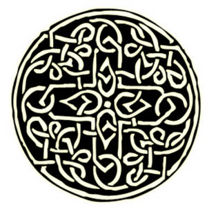 Free Clipart Picture of a Glowing Celtic Shield Design