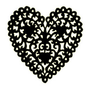 ... design. The image shows a heart with a lacy design and yellow glow