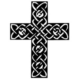 Free Clipart Picture of a Black and White Celtic Cross