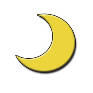Free Clipart Picture of a Yellow Half Moon