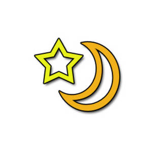 Free Clipart Picture of a Half Moon and a Star