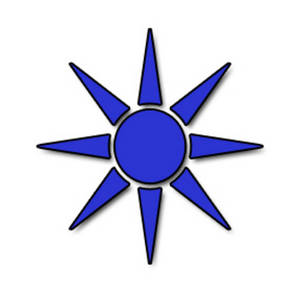 Free Clipart Picture of a Blue Pointy Sun