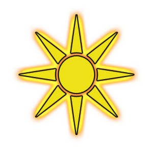 Free Clipart Picture of a Glowing Yellow and Orange Sun