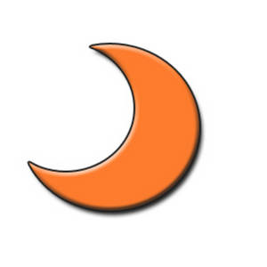 Free Clipart Picture of an Orange Half Moon