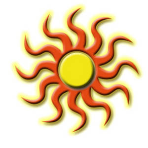 Free Clipart Picture of a Tribal Sun Design