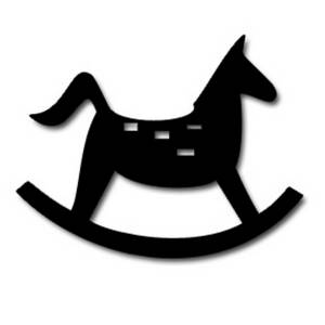 Free Clipart Picture of a Rocking Horse Silhouette