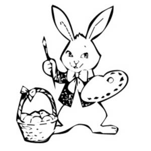 Free Clipart Picture of an Easter Bunny Painting Eggs