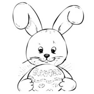 Free Clipart Picture of a Bunny Holding an Easter Egg