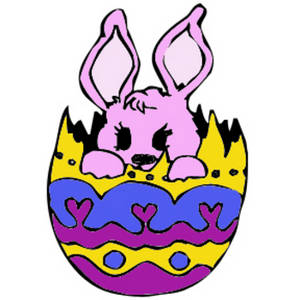 Free Clipart Picture of a Pink Bunny In an Easter Egg