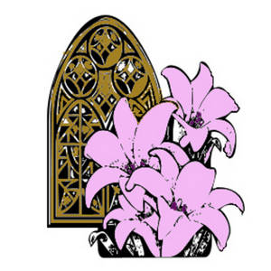 Free Clipart Picture of a Church Window with Pink Lilies