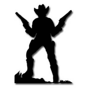 Description: FREE clipart picture of a cowboy holding up two guns ...