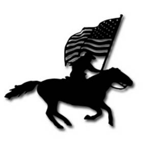 Free Clipart Picture of a Cowboy On a Horse With a Flag