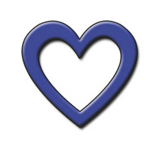 Free Clipart Picture of a Blue Open 3D Heart