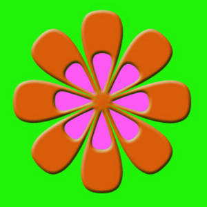 Free Clipart Picture of a Day-glo, 70's Flower