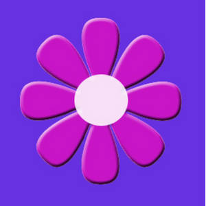 Free Clipart Picture of a Cute Pink Flower with a Blue Background