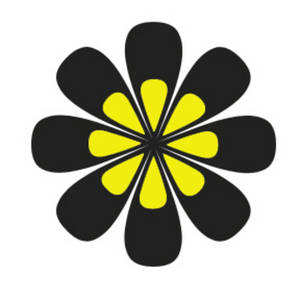 Free Clipart Picture of a Yellow and Black Flower