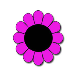 Free Clipart Picture of a Round, Pink Flower with a Black Center