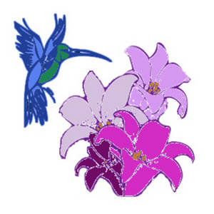 Free Clipart Picture of a Hummingbird Hovering Over Flowers