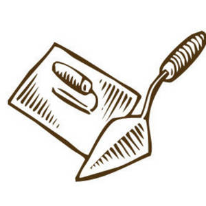 Free Clipart Picture of a Mason's Trowel and Spreader