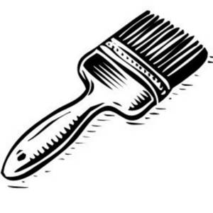 Free Black and White Clipart Picture of Paint Brush