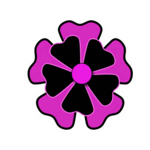 Free Clipart Picture of a Retro Black and Pink Flower