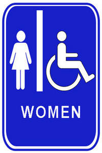 Free Clipart Picture of a Blue Restroom Sign