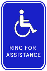 """Free Clipart Picture of a Handicapped """"Ring For Assistance"""" Sign"""
