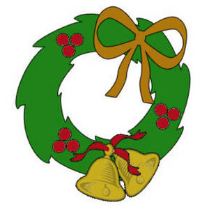Free Clipart Picture of a Christmas Holly Wreath