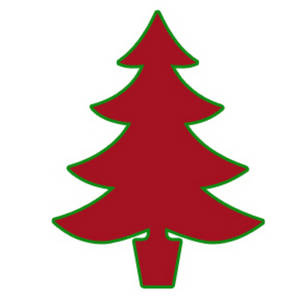 Red Christmas Tree Outlined in Green