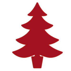 Free Clipart Picture of a Christmas Tree - Simple Red Silhouette