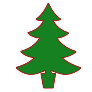 Free Clipart Picture of a Christmas Tree Silhouette in Green and Red