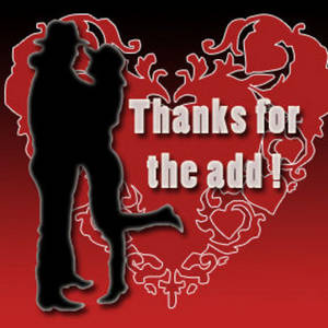 Free Clipart Picture of a Cowboy and Cowgirl Hugging, Thanks for the Add