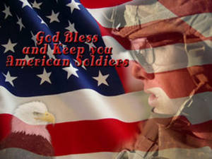 Free Clipart Picture of an American Flag, Bald Eagle and Soldier