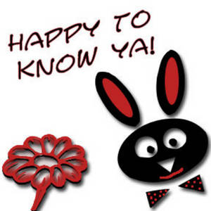 """Free Clipart Picture of a Bunny and a Flower with """"Happy to Know Ya"""""""