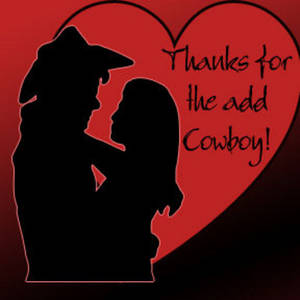 Free Clipart Picture of a Kissing Cowboy and Cowgirl Thanks for the Add